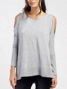 Grey Cold Shoulder Side Slit T-Shirt