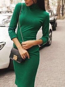 Green Turtleneck Slim Sweater Dress