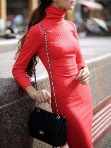 Orange Turtleneck Slim Sweater Dress