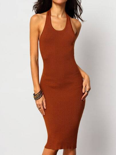 Khaki Halter Backless Slim Dress