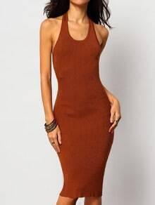 Khaki Halter Backless Slim Dress