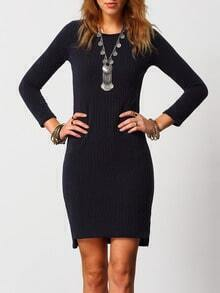 Navy Crew Neck Skinny Bodycon Sweater Dress
