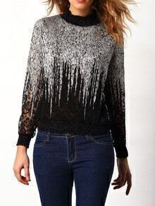 Silver Stand Collar Lace Embellished Blouse