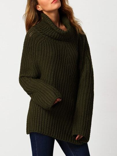Army Green Turtleneck Long Sleeve Loose Sweater