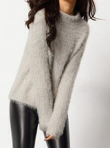 Grey Mock Neck Mohair Loose Sweater