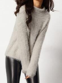 Jersey cuello mock mohair suelto -gris