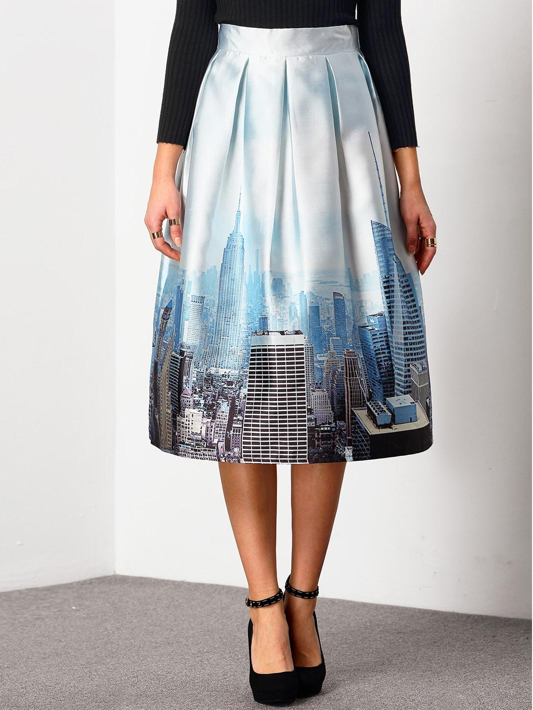 blue high waist city print skirt shein sheinside