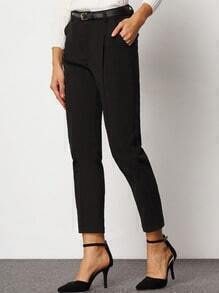 Black Slim Pockets Belt Pant