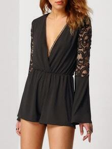 Black Deep V Neck Lace Jumpsuit
