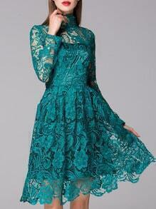 Green Stand Collar Long Sleeve Crochet Lace Dress