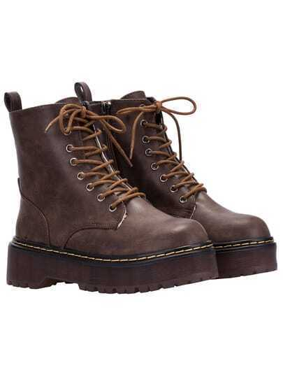 Dark Brown Round Toe Thick-soled Short Boots