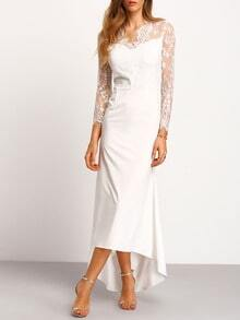 White Long Sleeve Sheer Lace Maxi Dress