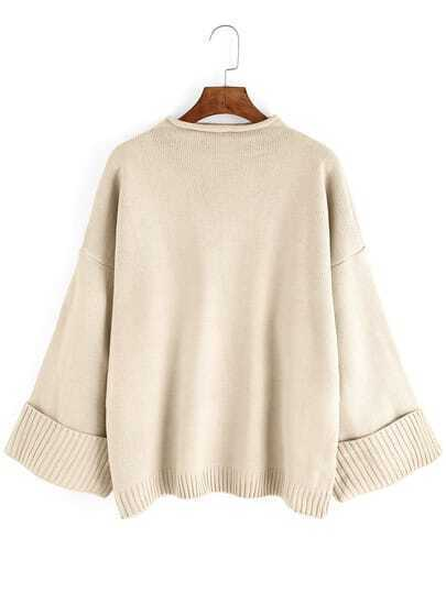Apricot Mock Neck Long Sleeve Loose Sweater