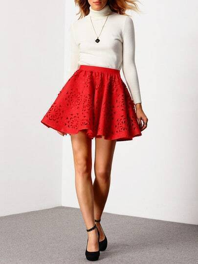 Red High Waist Hollow Flare Skirt