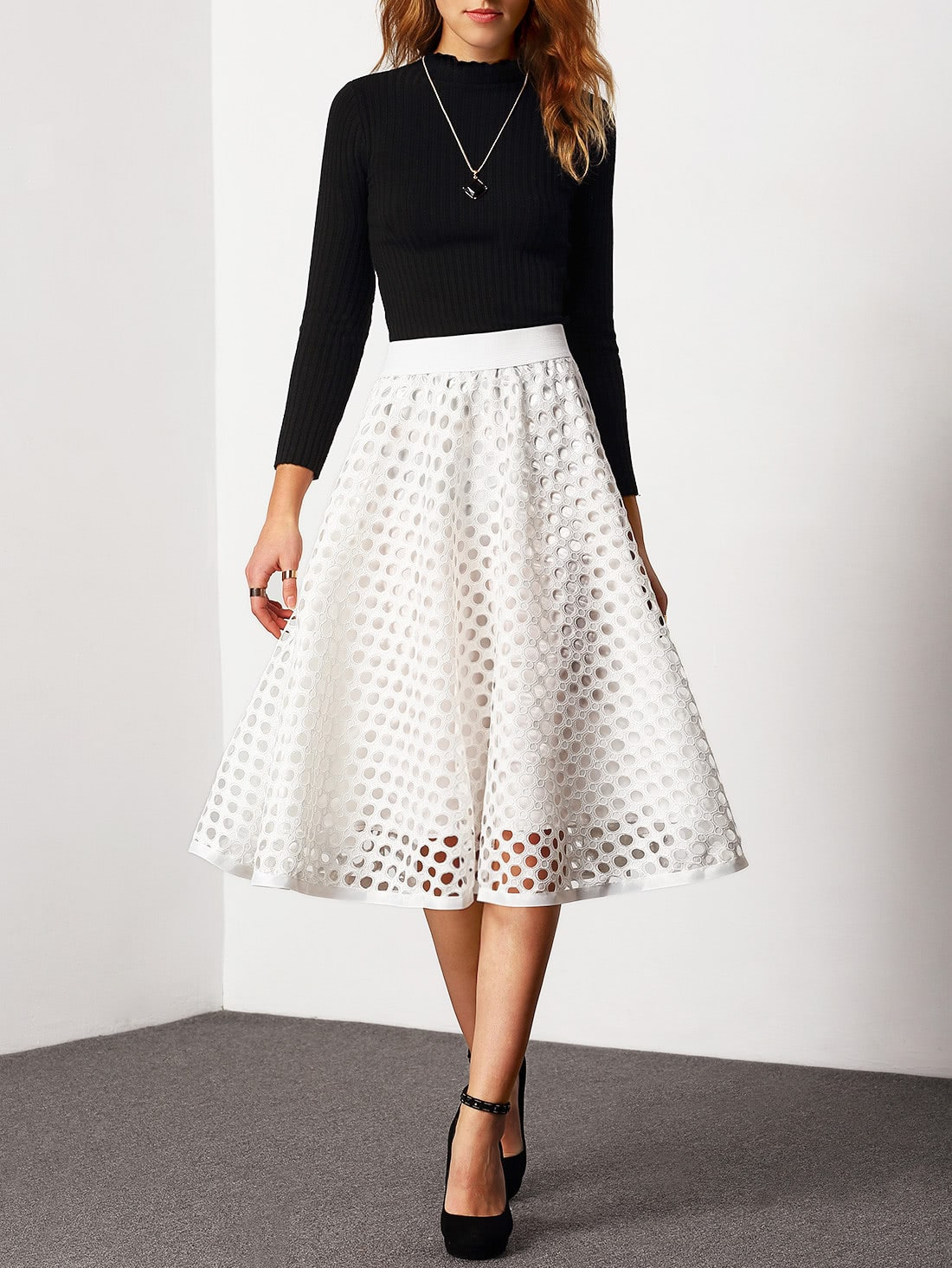White High Waist Eyelet Skirt -SheIn(Sheinside)
