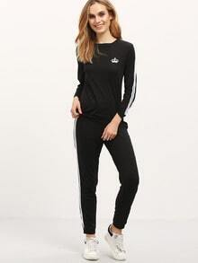 Black Crew Neck Crown Sweatshirt With Pant