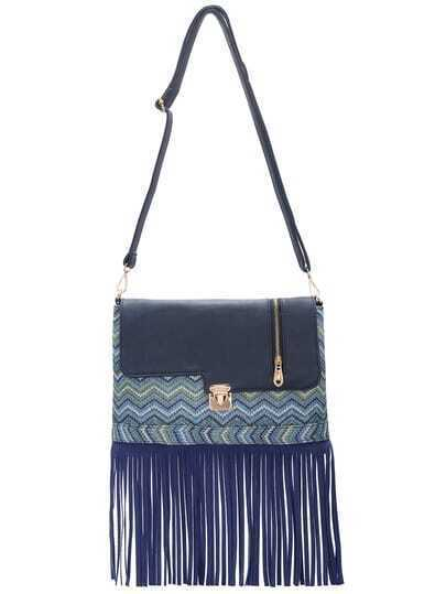 Blue Push Lock Braided Fringe PU Cross Body Bag