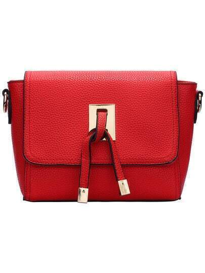 Red Magnetic PU Cross Body Bag