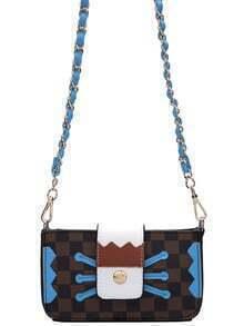 Color-block Plaid PU Bag