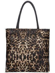 Brown Zipper Leopard Bag With Small Bag