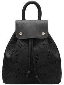 Black Drawstring Magnetic Pierced Backpacks
