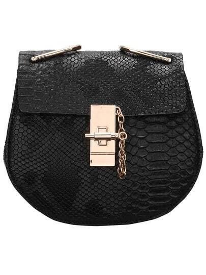 Black Metallic Embellished Snakeskin Print Chain Bag
