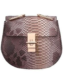 Coffee Snakeskin Printing Chain Bag
