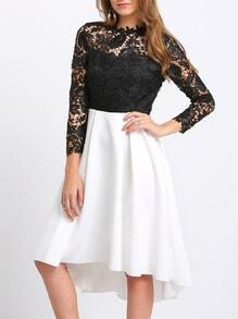 Black Lace Embroidered Contrast Hem Dress