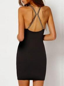 Black Embellished Strappy Back Bodycon Dress