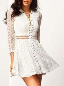 White Lace Up Front Eyelet Sleeve Dress