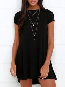 Black Cut Out Back Shift Dress