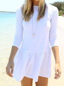 White Drop Waist Flounce Dress