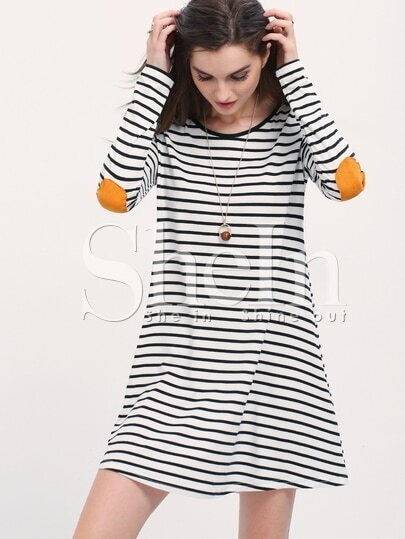 White Striped Elbow Patch T-shirt Dress