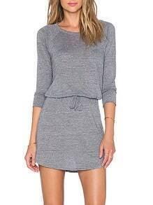 Grey Drawstring Waist Cowl Back Dress