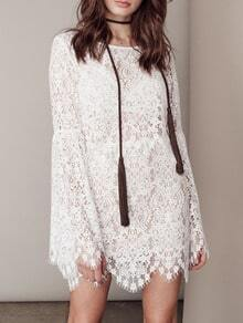 White Bell Sleeve Lace Embroidered Dress