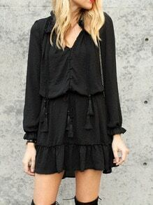 Black Drawstring Ruffle Cuff Flounce Dress
