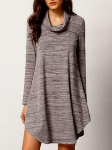 Grey Cowl Neck Curve Hem T-shirt Dress