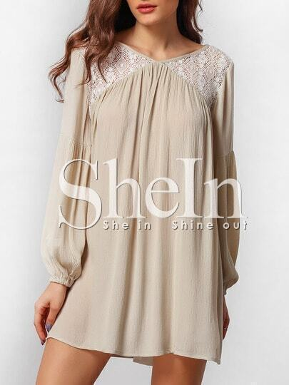 Apricot Puff Sleeve Lace Embroidered Panel Dress