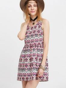Aztec Print Strap Scoop Neck Dress