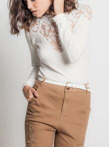 White Lace Embroidered Panel Blouse