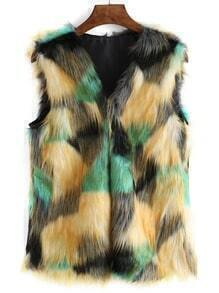 Collarless Faux Fur Vest
