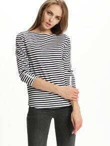 White Striped Boat Neck Zipper Sleeve T-Shirt