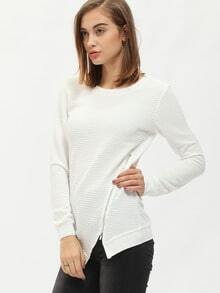 White Crew Neck Zipper Asymmetric T-Shirt
