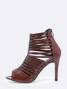 Coffee Peep Toe High Stiletto Heel Caged Shoes