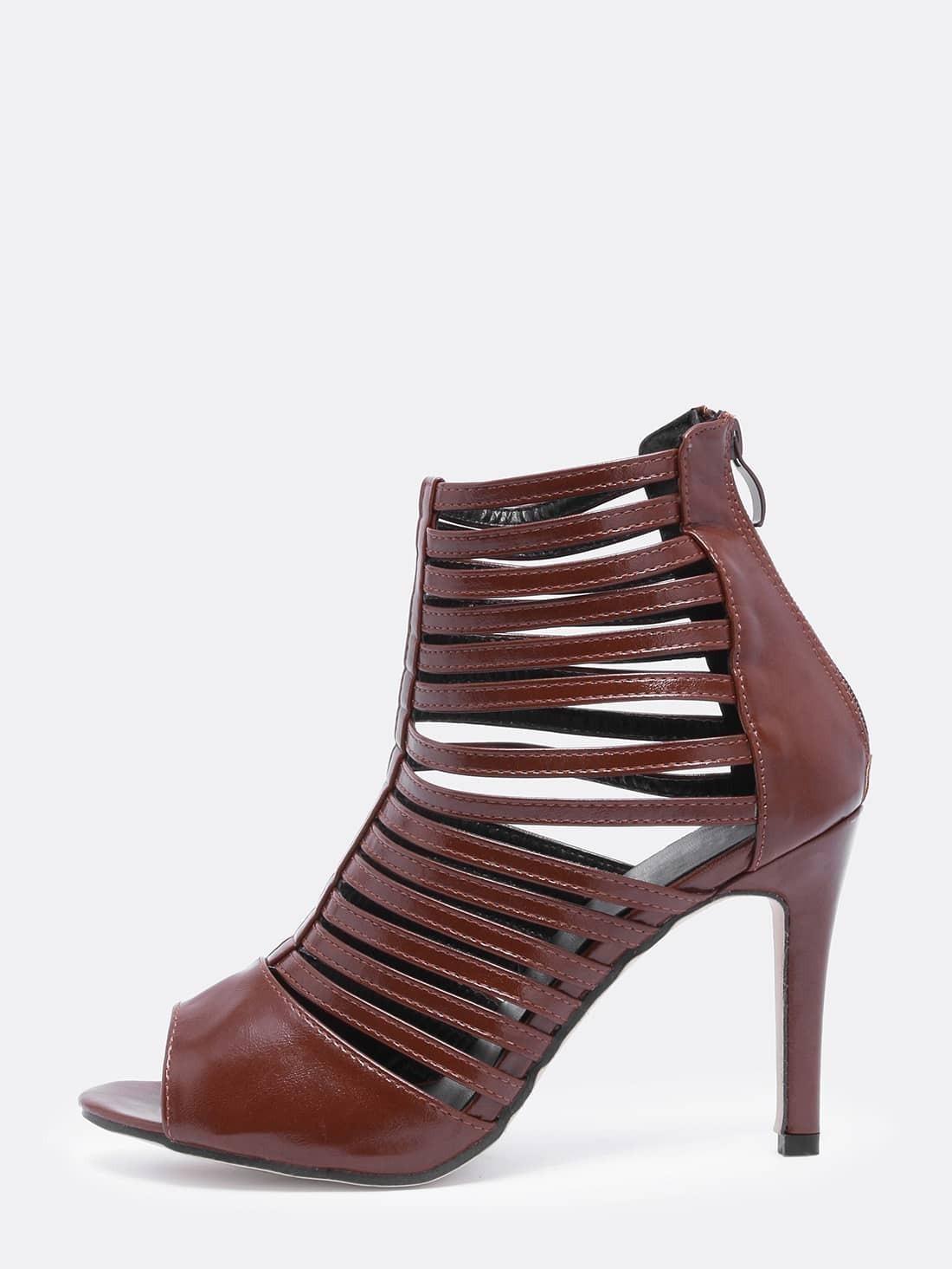 Coffee Peep Toe High Stiletto Heel Caged Shoes