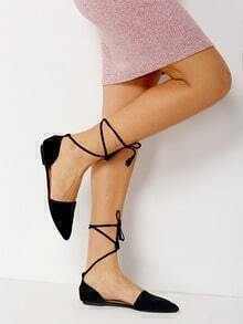 Black Point Toe Suede Lace Up Flats