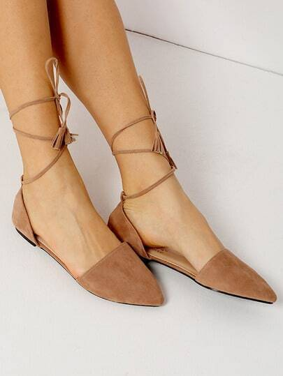 Apricot Point Toe Suede Lace Up Flats