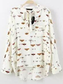 Colour Tie-neck Insect Print Dip Hem Blouse