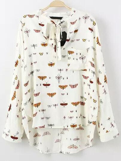 Colour Tie-neck Insect Print Dip Hem Blouse