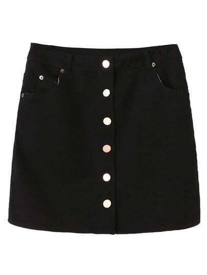 Black Single Breasted Pockets Skirt